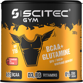 SCITEC BCAA&Glutamine Polvo para Entrenamiento 300g, Strawberry-Black Tea